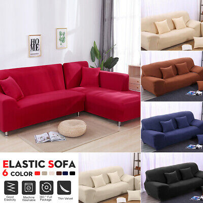 1 2  3 Seater Stretch Fit Sofa Lounge Couch Covers Slip Cover + Pillowcase AU
