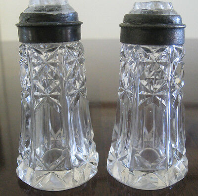 Antique Cut Crystal Salt & Pepper Shakers~Very Old