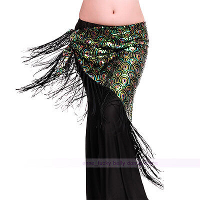 New Belly Dance Peacock Sequins Hip Scarf Belt Tribal Triangle Shawl green color