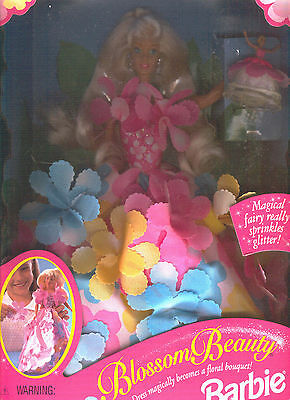 Blossom Beauty Barbie 1996 Dress Becomes Floral Bouquet, Glitter Fairy Mib