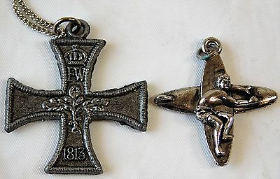 Vtg 60s/70s WWI Style Iron Cross and Makaha Surfer Surf Board Pendant Necklace