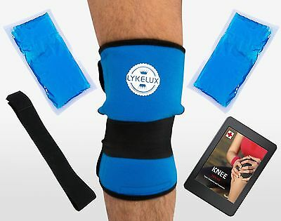 LykeLux Knee Pain Relief Gel Ice Pack Wrap - For Cold & Hot Therapy - Soothes...