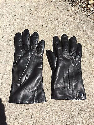 COACH Black LEATHER Gloves CASHMERE Lined WOMEN'S Medium Size 8