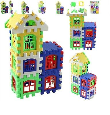 LOT of 9 24pc House Building Blocks Educational Learning Const Developmental Toy
