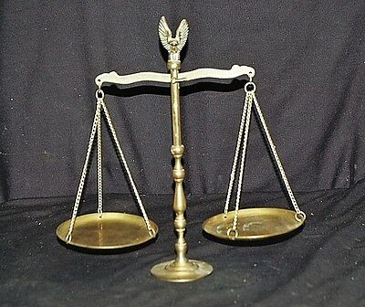 Vintage Style Brass Balance Scale of Justice Eagle on Top Man Cave Office Decor