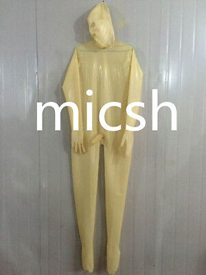 latex Rubber Catsuit Transparent Tights Stylish Hood Full-body Suit Size XS-XXL