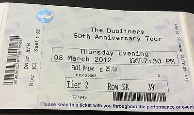 Used. Entry  Ticket.      The. Dubliners. 50 Years. Tour.