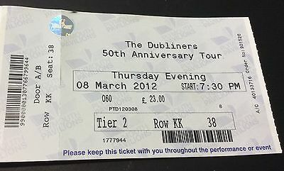 2012. The. Dubliners. 50 Years. Tour.   Used Entry Ticket