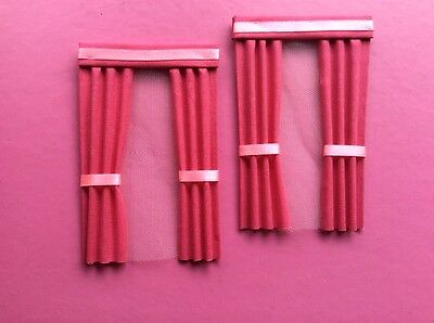 2 pink dolls house curtains  3.5 x 5.5""