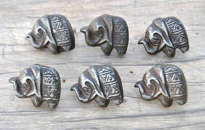 VTG 6pc Victorian Elephant Cast Iron cabinet drawer door Knobs handles pull