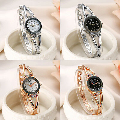 Rhinestone Women Stainless Steel Analog Luxury Crystal Dial Quartz Wrist Watch