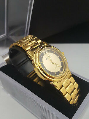 Mens Orient Quartz slim Gold Plated Watch with Box