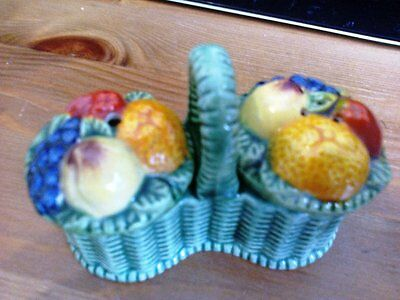 Vintage Japan Fruit Salt and  Pepper Shakers with Basket Caddy Marutomowa