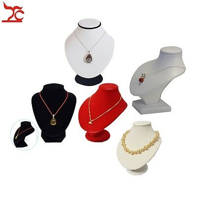 Wooden Jewelry Display Bust Velvet White PU Mannequin Pendant Necklace Holder
