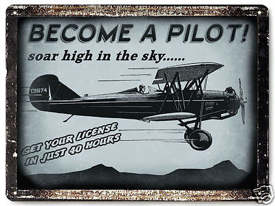 AVIATION AIRPLANE metal SIGN model FLYING lessons license VINTAGE wall decor 002