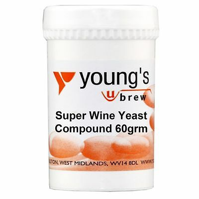 YOUNG'S 60g Super Wine Yeast Compound Nutrient Home Brew Wine Making 10 Gal tub
