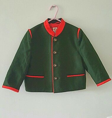 Vintage Trachten Childs Wool Jacket in Hunter Green Made in Austria