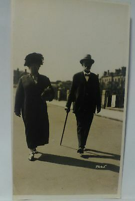 40s vintage photo walking stick elderly england english rppc