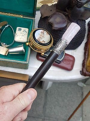 Russian Faberge French pink rose quartz silver Walking stick cane spazierstock