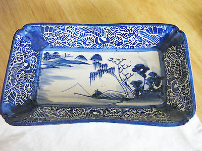 OLD UNMARKED Oblong Blue & White Stoneware Dish CHINESE JAPANESE