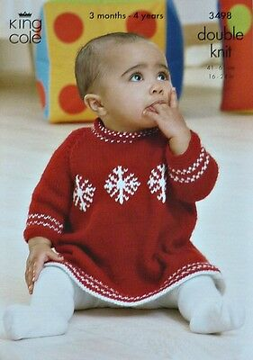 KNITTING PATTERN Baby Long Sleeve Snowflake Dress & Jumper DK King Cole 3498