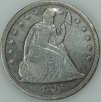 1846 Seated Liberty Dollar! Xf Details! $1 Us Coin Lot #4791
