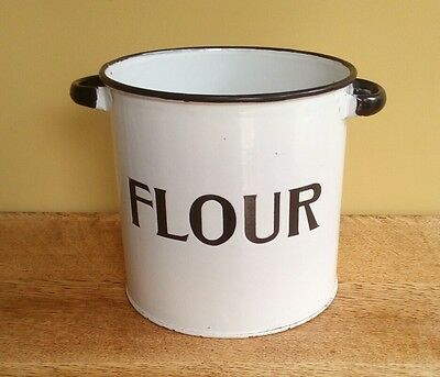 vintage enamel ware flour tin container canister shabby chic