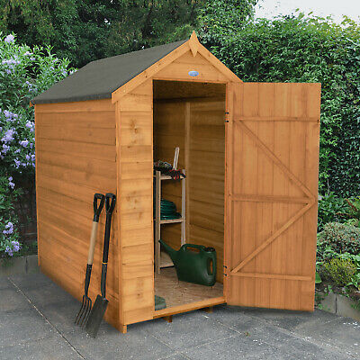 Forest 6x4 Windowless Dip Treated Apex Garden Tool Store Shed Patio Storage NEW