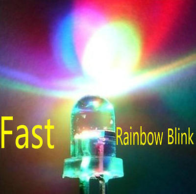 100pcs 5mm RGB (Red,Green,Blue) Fast Flash Round LED Light Lamps Rainbow Blink