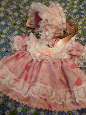 "Dream Girls 3-5Lb Prem Baby Pink Hearts Print Dress & Bonnet Or 14-16"" Reborn"