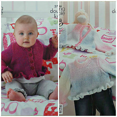 KNITTING PATTERN Baby Jumper & Cardigan Frilled Hem & Cuffs DK King Cole 3705