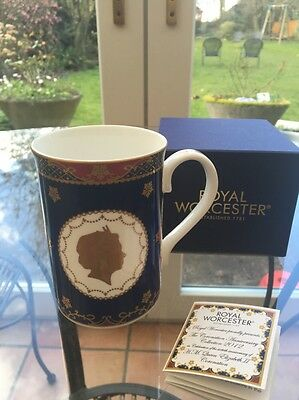 Royal Worcester 60th Anniversary Coronation Queen Elizabeth II Mug