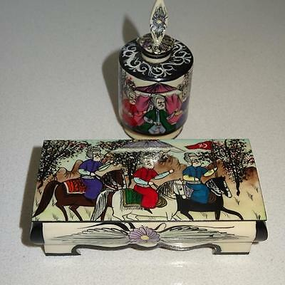 Rare - Hand Painted Lidded Box & Snuff Bottle with Persian Figures on Horseback