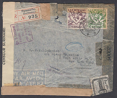 1945 Suriname Paramaribo Reg'd Airmail /Censor to New York,USA;Officially Sealed