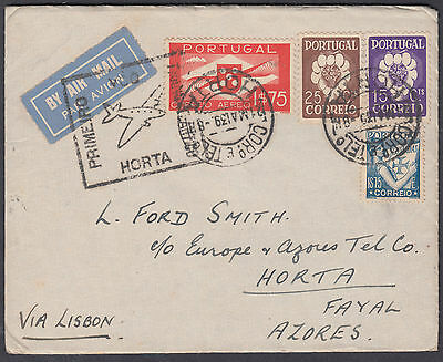 1939 Portugal Airmail FFC via Lisbon to Horta, Azores; see scans
