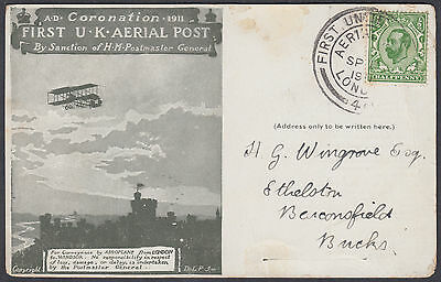 1911 Coronation First UK Aerial Post Souvenir Postcard / SHS; Beaconsfield,Bucks