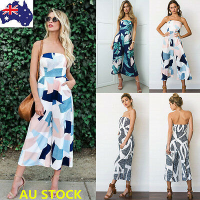 Women Floral Sleeveless Off Shoulder Rompers Ladies Summer Casual Party Jumpsuit