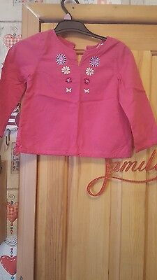 girls pink cotton blouse size 2/3 years