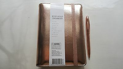 Medium Rose Gold Planner Organiser with free pen - Beautiful Gift - Brand New