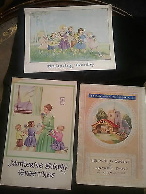 2 x POSTCARDS 1958  MOTHERING SUNDAY  1 HELPFUL THOUGHTS BOOKLET.