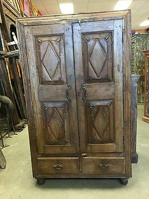 Antique Cabinet Chest Eclectic Furniture Armoire with drawers, Spanish Decor
