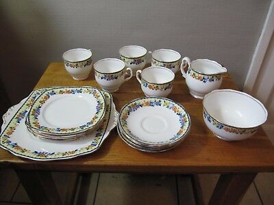 Vintage Royal Albert Tea Set 18 Pieces , c.1920's Art Deco.
