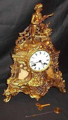 Very Nice 19th Century French 'Le Roy' Gilt Brass Mantle Clock