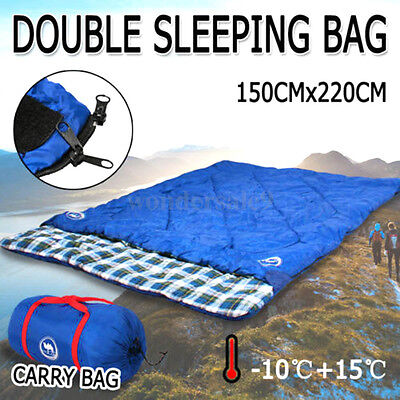 Blue Double Outdoor Camping Sleeping Bag Hiking Thermal Winter -10°C 220x145cm