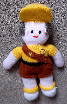 Brownie guide knitted doll in uniform cap scarf sash shorts T shirt
