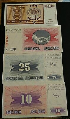 Bosnia 4 banknote set UNC