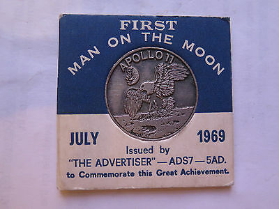 1969 AUSTRALIAN TOKEN FIRST MAN on the MOON APOLLO 11 THE ADVERTISER NEWSPAPER