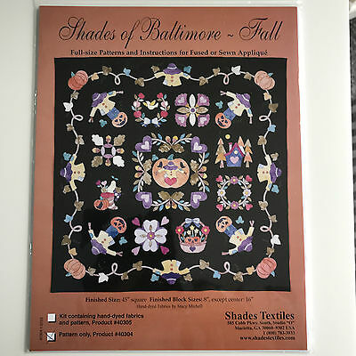 Shades Of Baltimore Fall Autumn Machine/hand Applique Quilt/wallhanging Pattern
