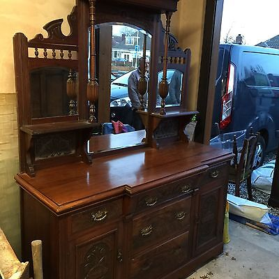 Antique Late Victorian Carved Bow Front Mirrored Dresser Sideboard