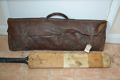 VINTAGE / ANTIQUE CRICKET KIT. .BAT, GLOVES, BAG, GUARDS collectable H.V ODD
